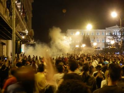 Police Charging Protesters in Athens