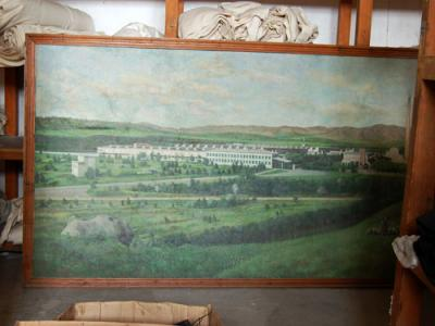 A painting of the Makedonka factory